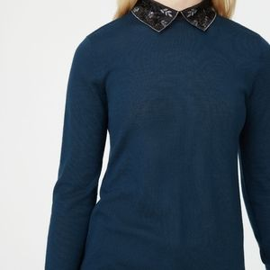 Club Monaco embroidered collar dark teal sweater